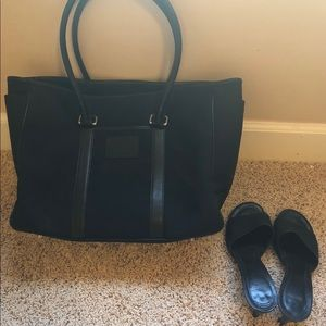 Large Coach Tote and sandals